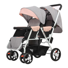 Twin Baby Strollers Lightweight Folding Front Rear Reclining Trolley Baby Double Stroller Can Lie Flat