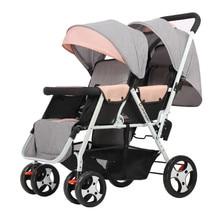 Twin Baby Strollers Lightweight Folding Front Rear Reclining Trolley Baby Double Stroller Can Lie Flat
