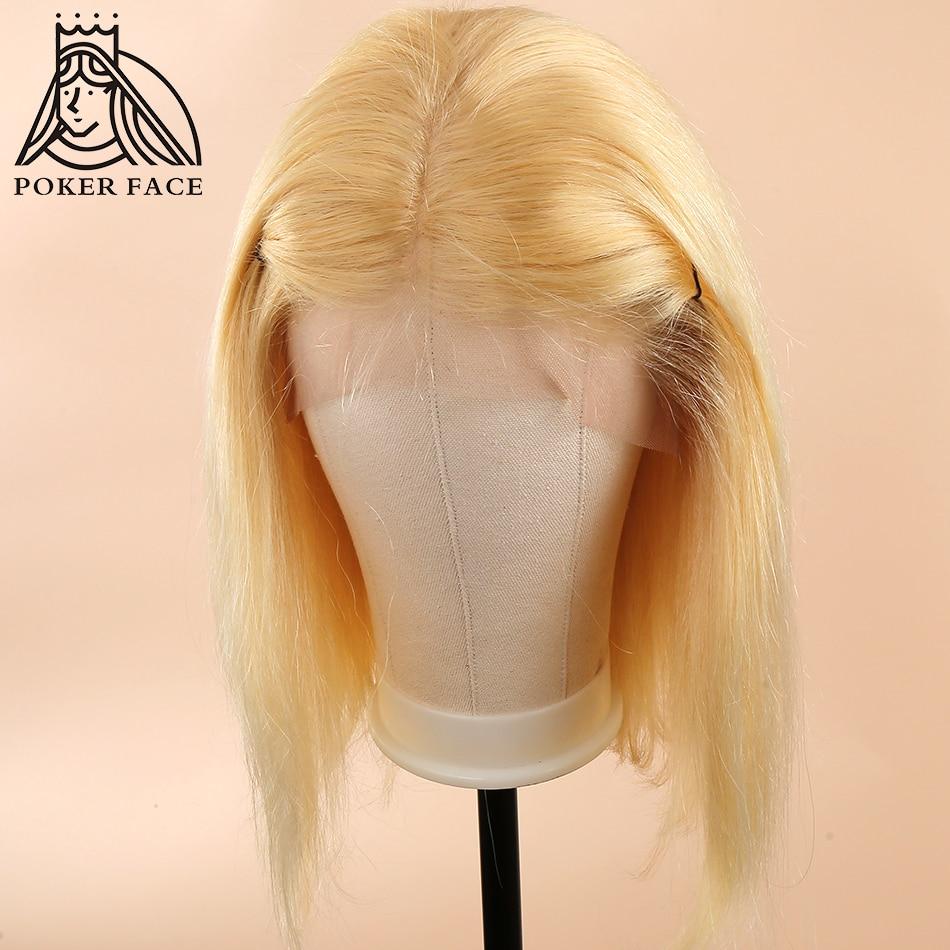 Poker Face 613 Blonde Lace Front Wigs Short Bob Brazilian Human Hair Wigs 150% Density Straight Hair T/1B 613 Short Bob Wigs