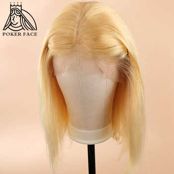 Poker Face 613 Blonde Lace Front Wigs Short Bob Brazilian Human Hair Wigs 150% Density Straight Hair T/1B 613 Short Bob Wigs - DISCOUNT ITEM  60% OFF All Category