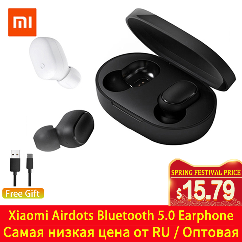 Xiaomi Redmi Airdots TWS Bluetooth 5.0 Earphone Wireless In-Ear Stereo Bass AI Control Auto Connect Handsfree Charging Earbuds