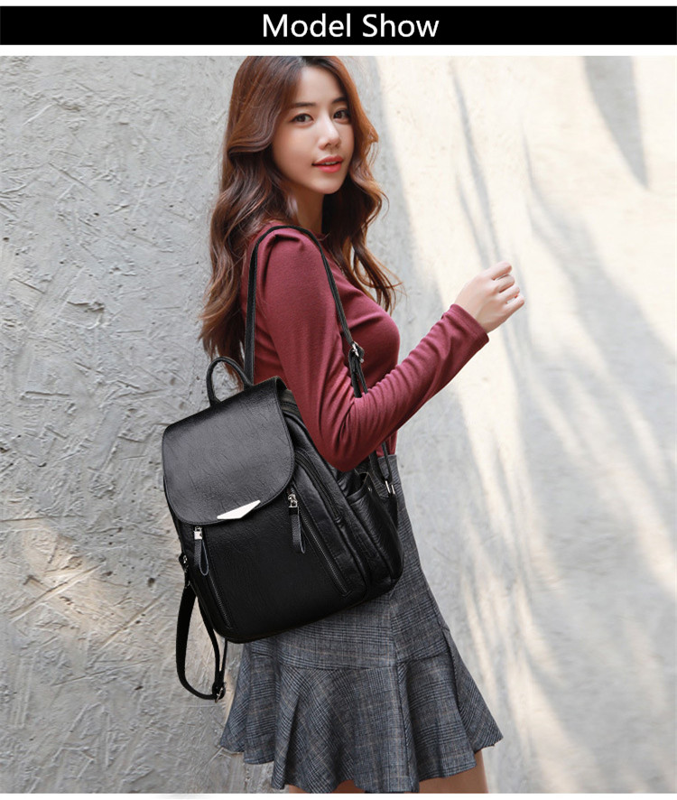 H37b9a426e6fd4e40b65cbe22de7f0d32C - Women Backpack PU Female backpacks Vintage Leather School Bags Large Capacity School Bag for Girls Double Zipper Shoulder Bags