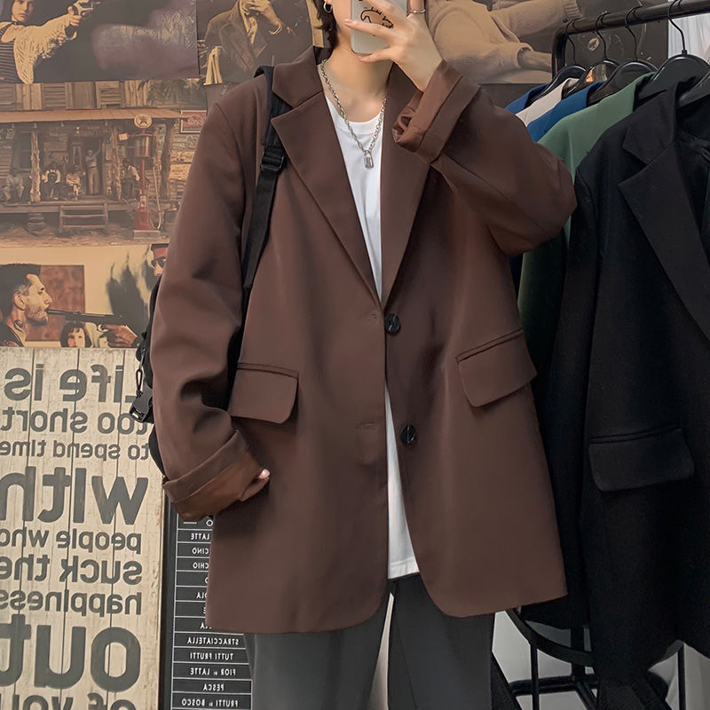 Korean Style Blazer Men's Fashion Solid Color Business Casual Suit Jacket Men Streetwear Wild Loose Dress Jackets Mens M-2XL