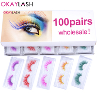 OKAYLASH Wholesale Wispy Fluffy Party Multi color Real Mink Eyelashes Makeup Halloween Dropship Fake Colored Strip Eyelashes