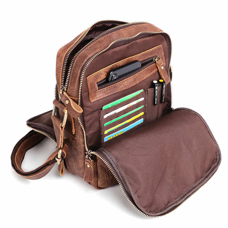 Multi Functional Men Genuine Leather Messenger Bags Smart Male Leather Handbags Three Fold Zipper Crossbody Shoulder Bags