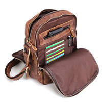 Multi Functional Men Genuine Leather Messenger Bags Smart Male Leather Handbags Three Fold Zipper Crossbody Shoulder Bags