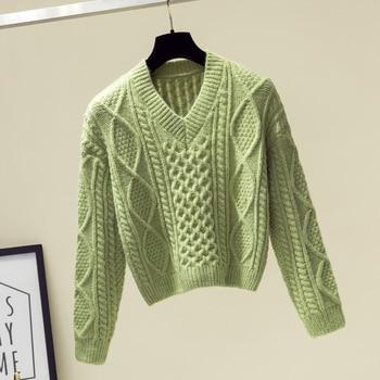 Ailegogo New 2019 Autumn Winter Women Sweaters V-Neck Knitting Fashion Korean Style Solid Minimalist Ladies Female Tops SW716 4