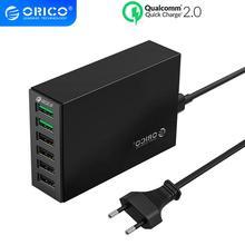 Orico qc 2.0 carregador rápido, com 6 portas de carregamento usb, carregador de mesa inteligente 5v10a 50w max, saída para celular carregador de telefone usb