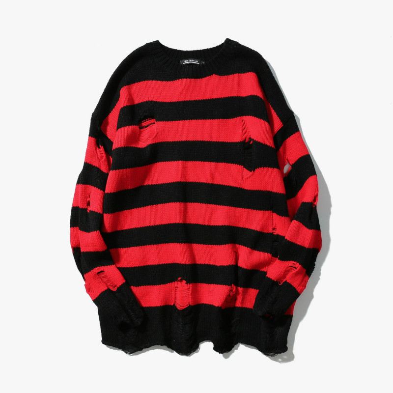 Zogaa Black Red Striped Hole Knit Sweaters Autumn Winter Sweater Loose Long Paragraph Oversized Men Women All-match Clothing