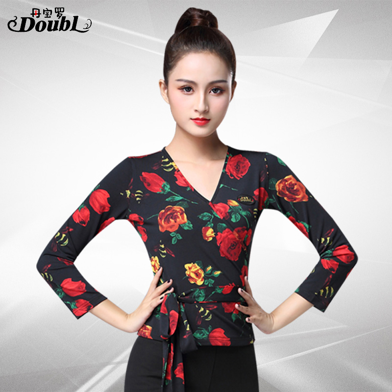 DOUBL 2020 Upper Clothing Latin Dance Tops Women Wear Fit Printing Female New Ballroom Dance Long Sleeve Standard Practice Rumba