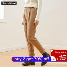 Loose Pant Straight-Pants Official Metersbonwe Women Woven-Trousers Elastic High-Waist