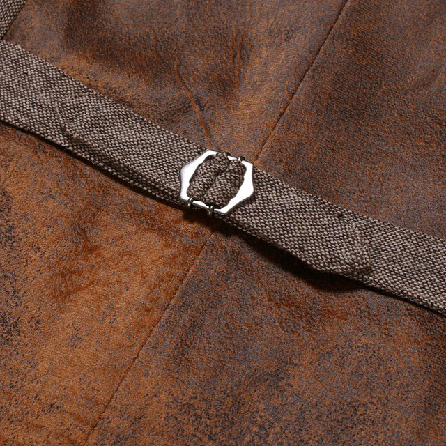 Wool Tweed Men Suit Vests Victorian Steampunk Cosplay Mens Waistcoat with Suede Gentleman Groomman Wedding Slim Fit Men Gilet 5