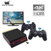 Consola de videojuego DATA FROG 4K salida HDMI Retro 600 clásico 64 bits familia de videojuegos 2,4G inalámbrica doble consola de mando de videojuegos