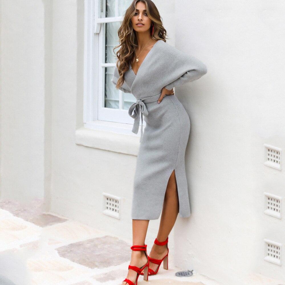 Париж, для девушек 2020 осень зима новый Летучая мышь с длинным рукавом с высокой талией и открытой спиной, платье карандаш, офисные женские сексуальные платья с глубоким v образным вырезом Платья    АлиЭкспресс