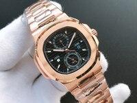 Reloj mecánico automático de acero inoxidable para hombre, de oro rosa cristal de zafiro, automático, de lujo, para el hogar, café Azul, Gris
