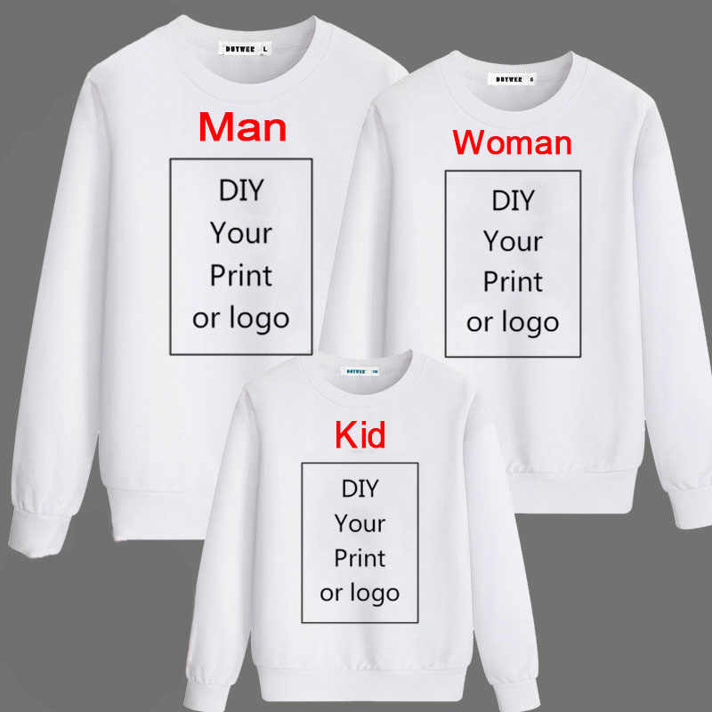 Customized Print Sweatshirt Men/Women/Child Pullover Parent-child Spring Autumn Casual Sportswear  DIY Your Like Photo or Logo