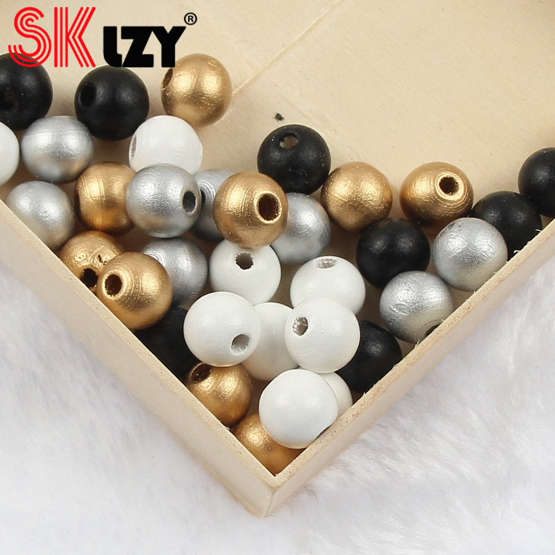 NEW Mixed Wooden Bead Round DIY Baby Pacifier Clip DIY Jewelry Accessories 12mm
