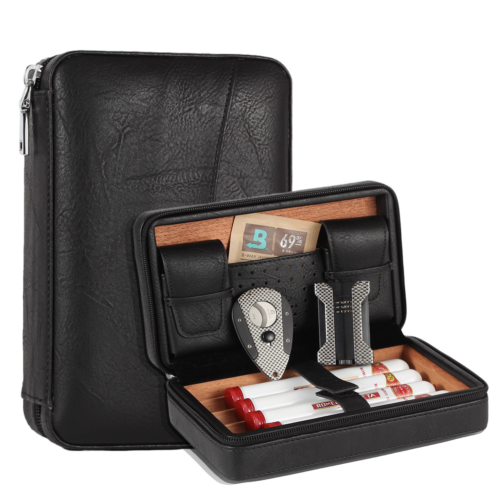 GALINER Travel Cigar Humidor Leather Cigar Case Cedar Wood Humidor Box  Cigar Lighter Cutter Metal Holder Humidifier Bag