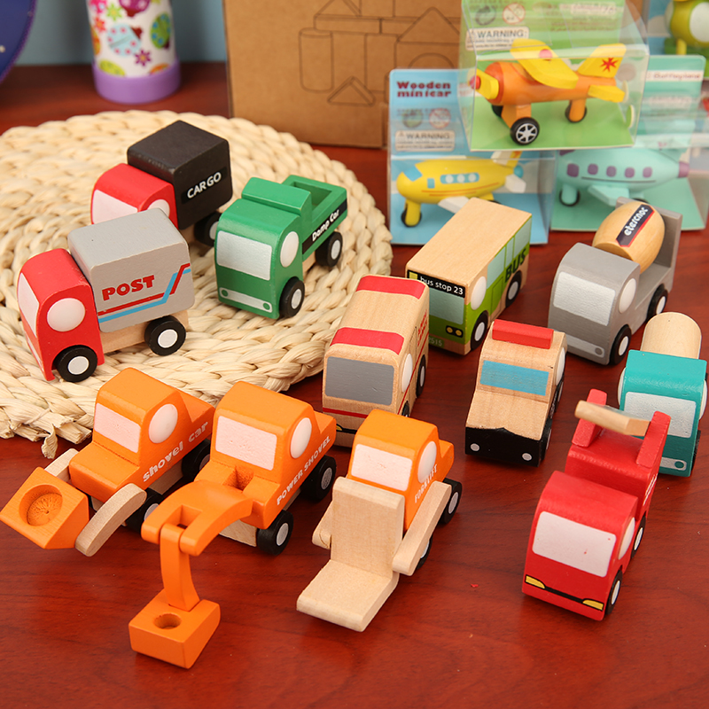Kids Mini Wooden Cars Truck Aircraft Model Toy Montessori Colorful Vehicle Toys Wooden Education Simulation Cars Decoration Gift