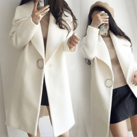 2019 autumn and winter new Korean version of woolen coat thickening large lapel white long section woolen coat