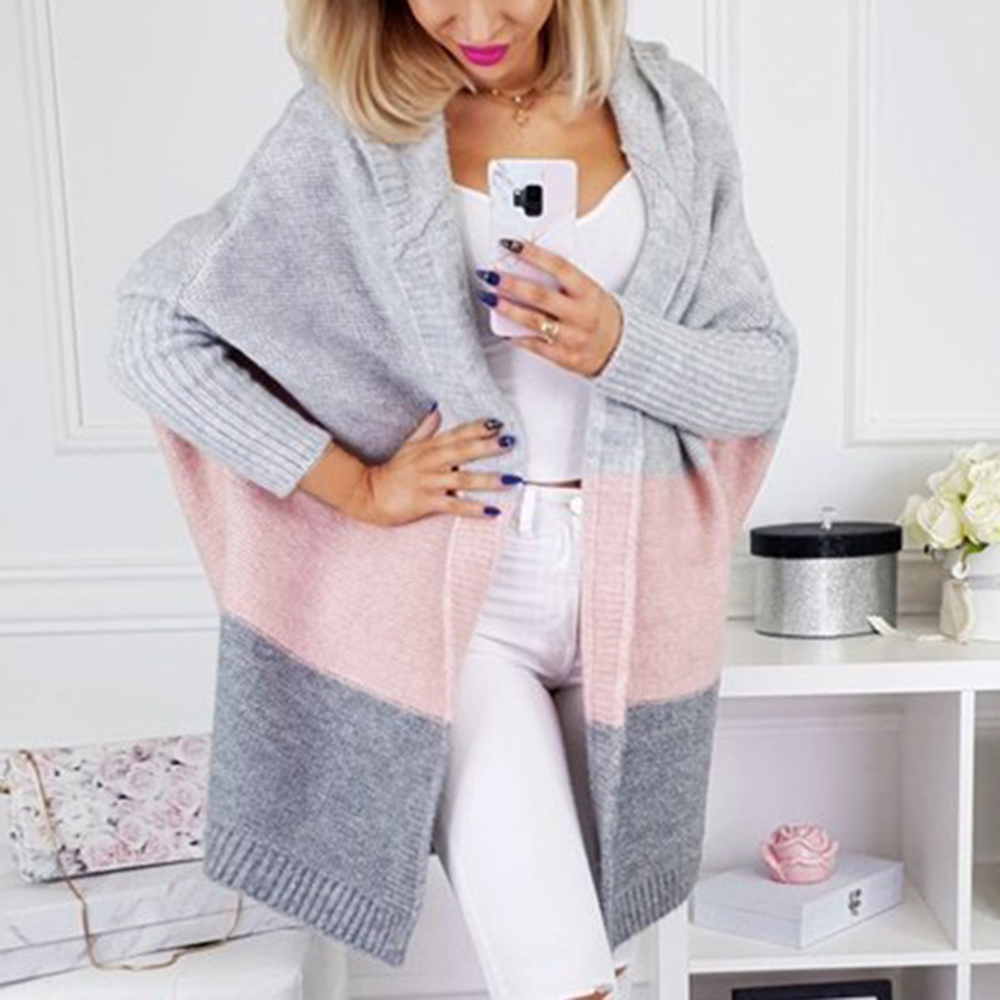 SFIT Patchwork Knitted Long Cardigan Women Autumn Hooded Batwing Sleeve Plus Size 5XL Women Sweater Coat Winter Cardigans Female