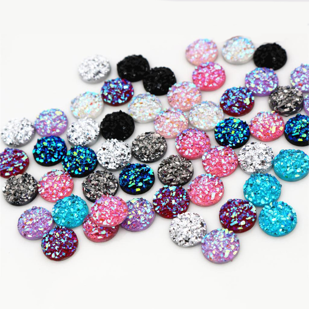 New Fashion 40pcs 10mm Mix Colors And Water Green AB Color Flat Back Resin Cabochons Cameo