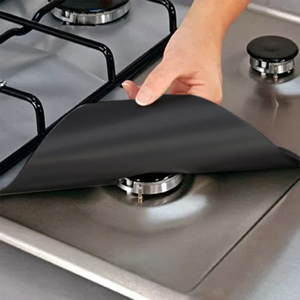 4PCS per Set Reusable and Non Stick Stove Cover Made with Glass Fiber to Protect Gas Stove