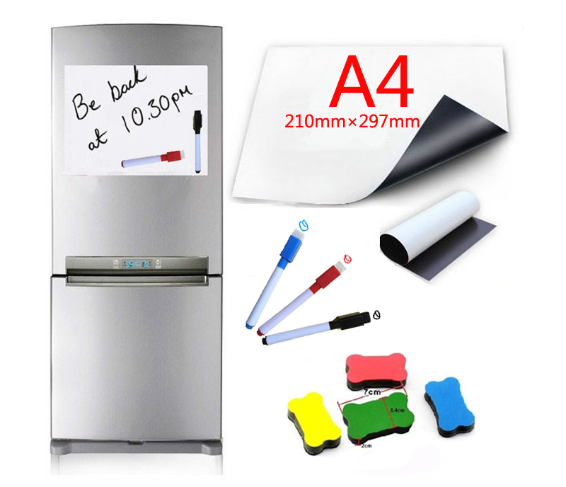 A4 Size Dry Wipe Magnetic Whiteboard Pens Vinyl Fridge White Board Refrigerator Magnet Note Flexible Remind Message Boards