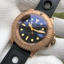 STEELDIVE 1953S almanya CuSn8 bronz NH35 mekanik erkek saatler silikon NATO naylon bronz izle otomatik izle dalış 200m