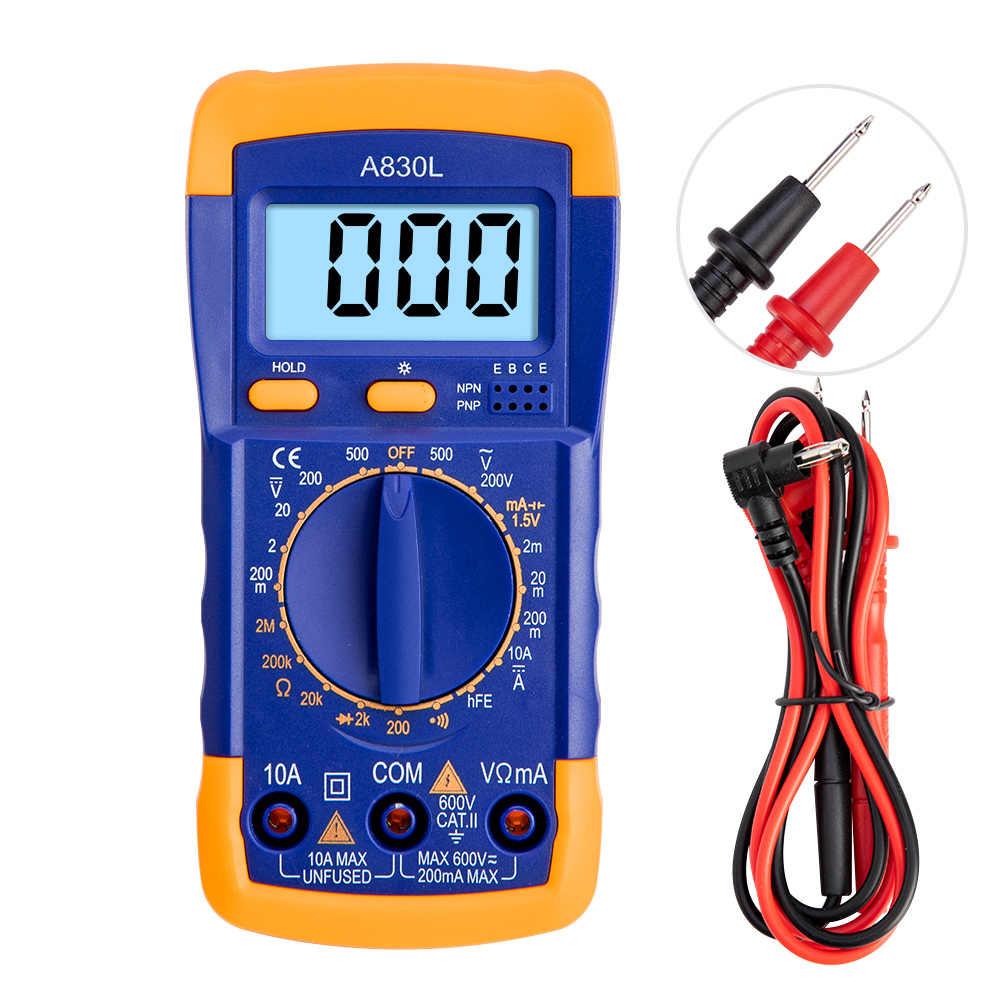 A830L Digitale Multimeter Lcd Ac Dc Voltage Diode Freguency Handheld Multitester Huidige Tester Lichtgevende Display Buzzer Functies