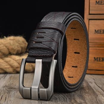 [LFMB] pas męski skórzany pasek mężczyźni pasek prawdziwa skóra dla mężczyzn luksusowe pin paski ze sprzączką dla mężczyzn pas Cummerbunds ceinture homme tanie i dobre opinie Dla dorosłych Cowskin Metal 3 8cm Moda Stałe 6 7cm nz329 Pasy 5 5cm leather belt men s belt male genuine leather strap