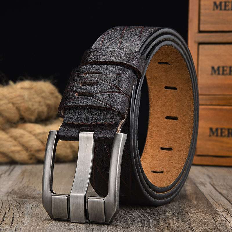 Size 26 to 48 Blue Real Leather Men/'s Belts Automatic Buckles Waist Belts Straps
