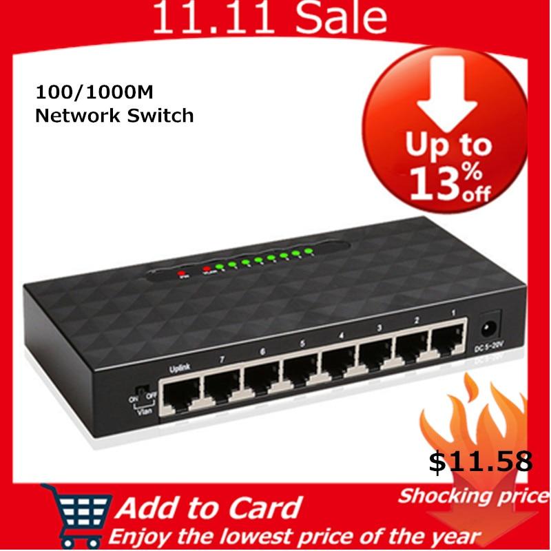 KuWFi 8 Porte Switch Gigabit Ethernet Intelligente Switcher Alta Performance1000Mbps Ethernet Switch di Rete RJ45 Hub Internet Splitter