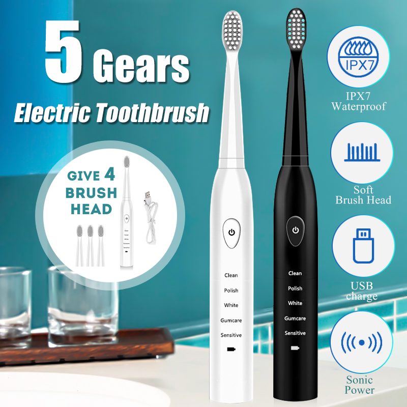 Ultrasonic Electric Toothbrush Adult Timer Brush Usb Charge Soft Tooth Brushes With 4pcs Replacement Head 5 Vibration Mode image