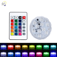 10 Led Remote Controlled RGB Submersible Light Battery Power Underwater Night Lights Outdoor Vase Bowl Garden Party Decoration