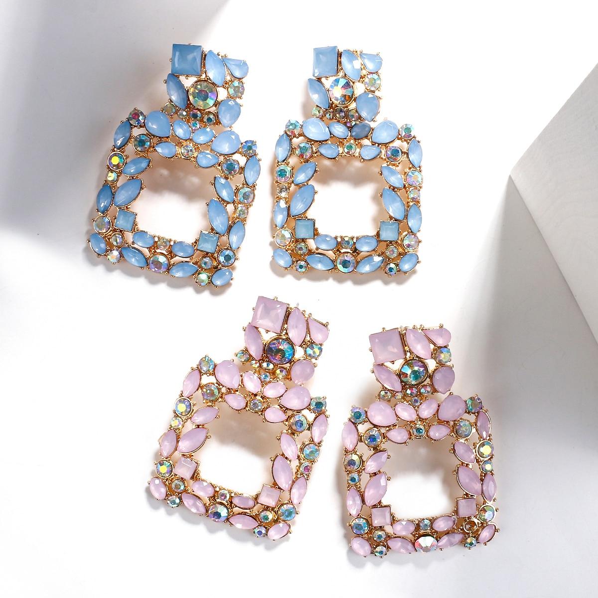 Hanging Rhinestone Statement Earrings for Women Jewelry