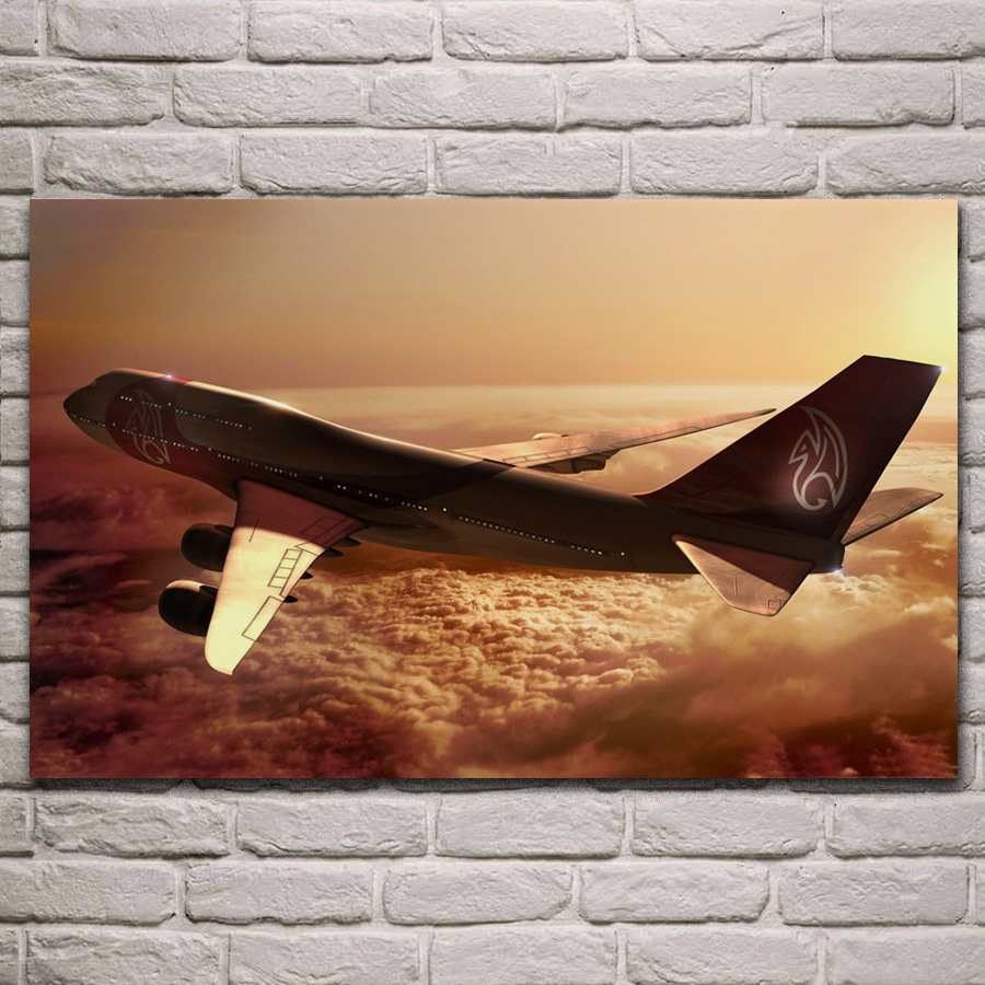 Boeing 747 airplane Aircraft flight flying in sunset fabric poster living room home wall decorative canvas art print KL827 image