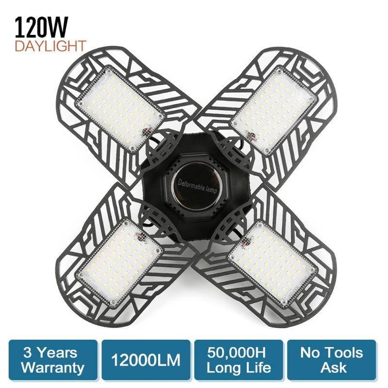 120W LED Garage Lamp Industrial Lighting Deformable Four-Leaf Folding Super Bright 12000LM Home Warehouse Workshop Ceiling Light