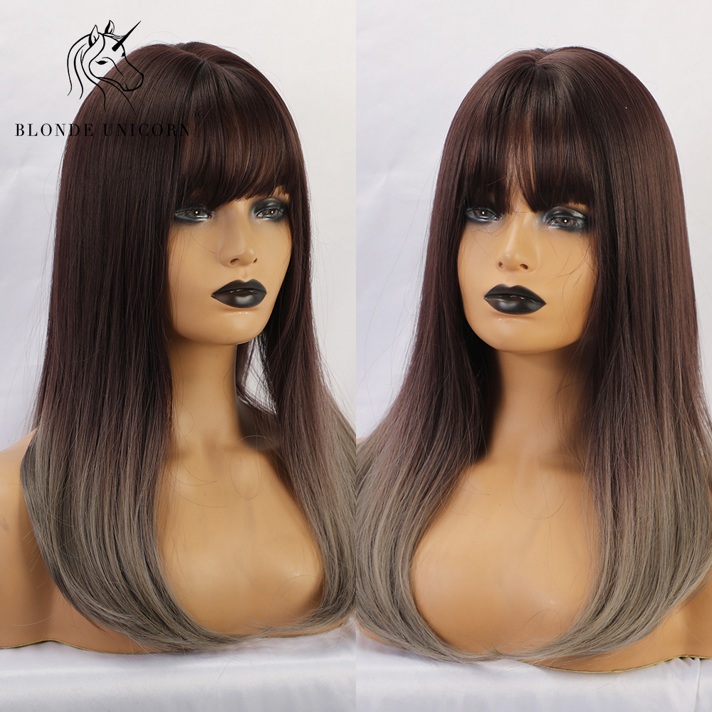 Blonde Unicorn Long Straight Synthetic Wig with Bangs Dark Root Ombre Grey Wig for Black White Women Cosplay Heat Resistant Hair