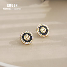 Classic black disc geometry double ring women's Earrings 2020 new elegant jewelry fashionable girl exquisite accessories Earring
