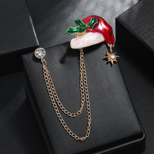 Hello Miss Christmas gift series cartoon alloy drop oil Christmas hat double chain brooch collar needle fashion brooch jewelry rhinestones christmas hat brooch