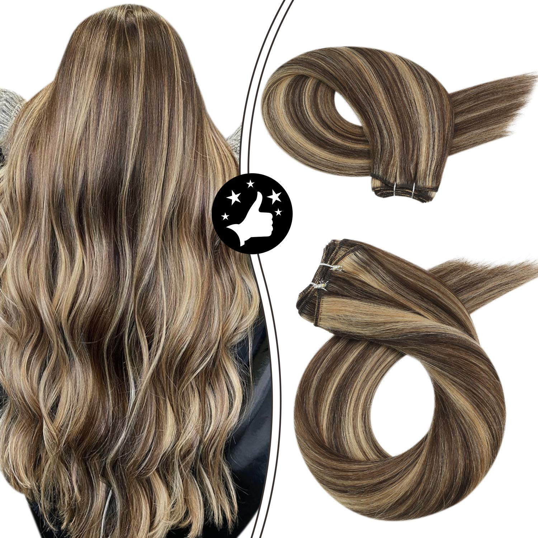 Human Hair Bundles Sew in Weaving Hair Extensions Brown Highlight Blonde 100g/set Machine Remy Hair Natural Straight