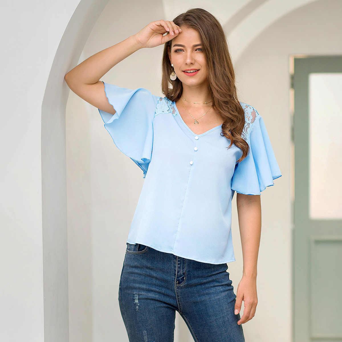 Женские блузки 2019 мода короткий рукав v-образный вырез офисная кружевная рубашка повседневные топы женские блузы Синяя Женская одежда