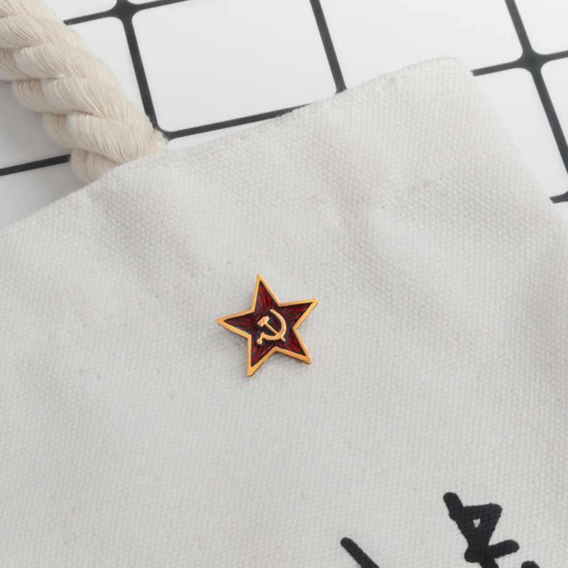 Retro UDSSR symbol emaille pin Roten Stern Sichel Hammer Kalten Krieges Sowjet CCCP Brosche Geschenk symbol Abzeichen revers pin für mantel kappe
