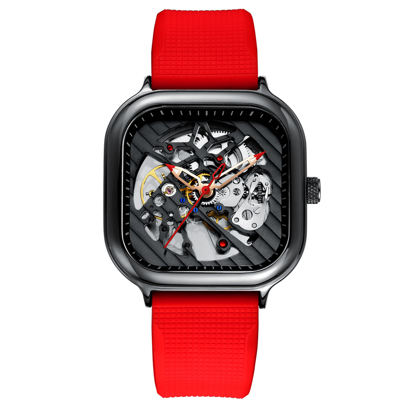 2020 new men's automatic watch top brand luxury silicone strap hollow Swiss square top ten watches 1