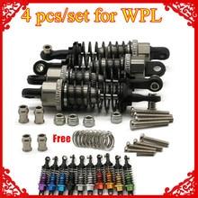 4ピース/セット × オイル充填タイプショックアブソーバー1/16 wpl 1 henglong C14 C24 4 × 4ピックアップトラッククローラhopupアップグレードパーツ