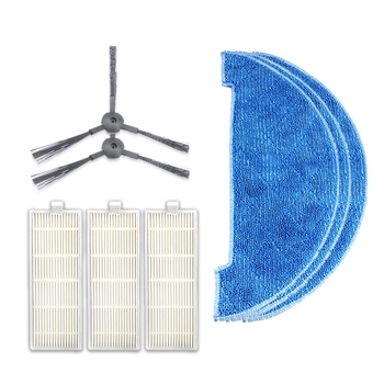 1 Set Robot Vacuum Cleaner Parts Fabric Mop+Side Brushes+Filter Net for Chuwi Ilife A4 T4 Robotic Cleaner Side Brush Filter Set 5 pcs lot chuwi ilife robot vacuum cleaner mop cloths for ilife v7s replacement mop cleaning robot vacuum cleaner mop