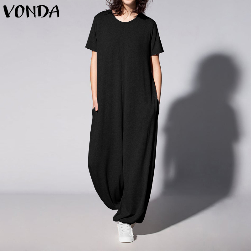 VONDA Rompers Womens Jumpsuits Casual O Neck Short Sleeve Solid Color Playsuits Loose Elegant OL Office Overalls Plus Size Pants
