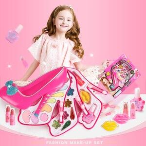 Image 3 - 子供のおもちゃセットふりプレイ王女ピンクメイク美容安全非毒性キットのおもちゃ女の子ドレッシング化粧品ガールギフト