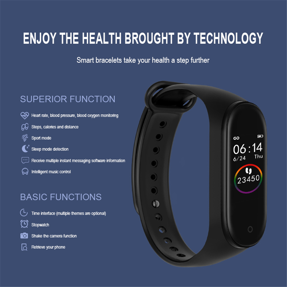 M4 Color Screen Smart Wristband Heart Rate Monitor Fitness Activity Tracker Smart Band Blood Pressure Music Remote Control-1